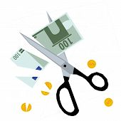 Постер, плакат: Scissors cutting money concept of budget cuts