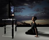 picture of home theater  - 3d render of a tv watcher - JPG