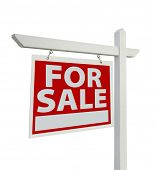 For Sale Real Estate Sign Isolated on a White Background with Clipping Paths - Facing Left.
