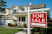 stock photo of real  - Home For Sale Real Estate Sign in Front of New House - JPG