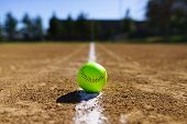 Softball At A Softball Field In California Mountains poster