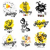 Постер, плакат: Bee logo Sweet honey logo Handmade logotype on the theme of beekeeping
