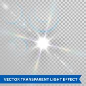 Vector ray of sunlight. Lens flare magic star shine glimmer. Glowing sun beam glaring isolated on tr poster
