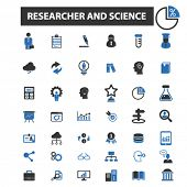 Постер, плакат: researcher and science icons researcher and science logo researcher and science vector researcher