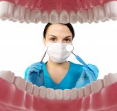Постер, плакат: Dentist with tools Concept of dentistry whitening oral hygiene teeth cleaning with toothbrush f