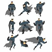 Постер, плакат: Superhero Actions Set in Comics Style Vector Illustration
