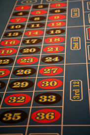 picture of las vegas casino  - Roulette table at a casino in Las Vegas - JPG