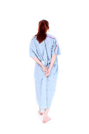 picture of hospital gown  - Backside Of Woman Holding Hospital Gown Closed - JPG