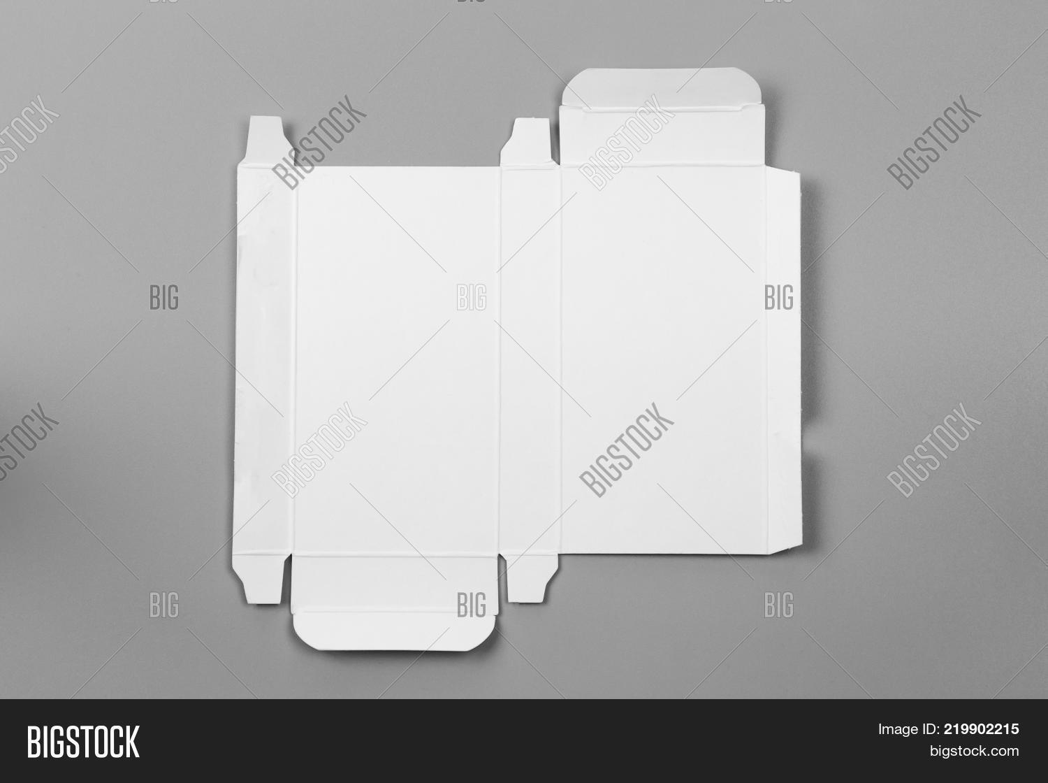 Mockup blueprint template white image photo bigstock mockup blueprint template of white paper box packaging on gray background old cardboard with die malvernweather Image collections