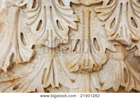 Pattern carving details of an ancient column capital - Hellenistic period Roman Agora, Kourion, Cyprus