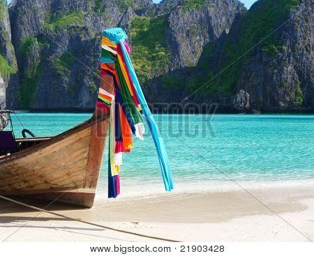 boat on sand of Maya bay Phi phi island
