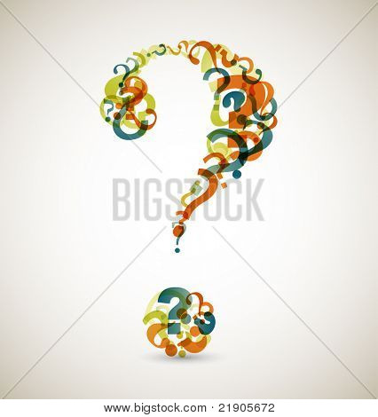 Big question mark made from smaller question marks (retro colors)