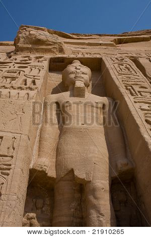 Ancient statue at Abu Simbel temple in Egypt