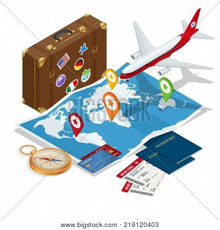 poster of Travel and tourism background. Flat 3d Vector illustration. To travel is to live Bag, passport, tickets and Passenger airplane. Luxury vacation. Our travel destinations banner