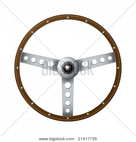 Wooden rim steering wheel with classic metal arms and rivets
