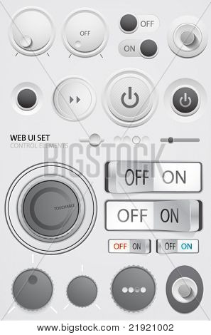 Vector user interface collection. On off buttons, bars, power buttons, toggle switch, sliders
