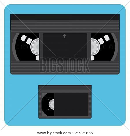 Vhs And Mini Video Cassette Without Labels