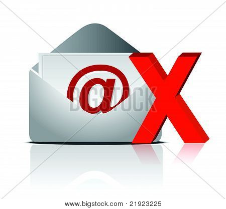 e mail icon and red cross illustration design