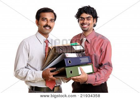 Two Indian business peoples with files on white