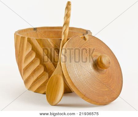 Wooden cup for spices with a small spoon and a cap