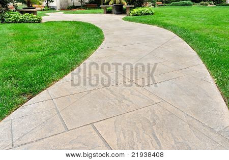 Curved path and lawn