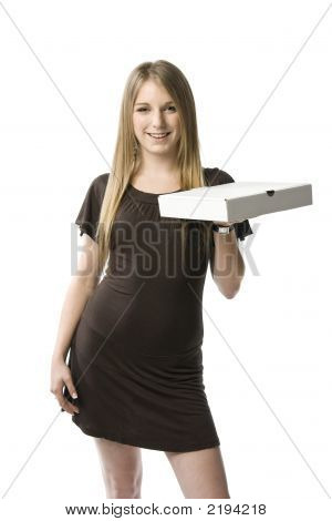 Woman Holding Pizza Box