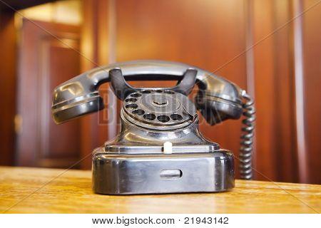 old analogue bakelight black telephone