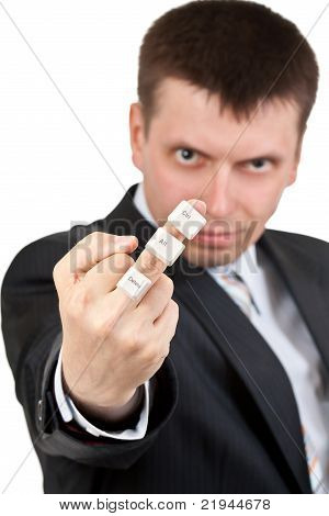 Businessman Shows finger. On The Finger Keys Ctrl Alt Del