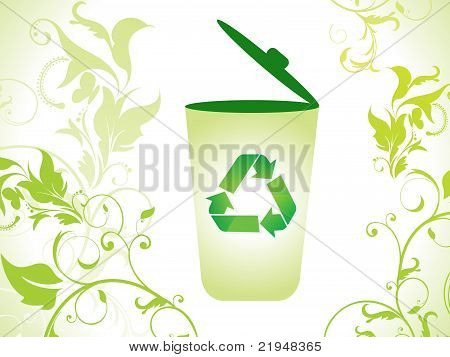 Abstract Eco Green Recycle Bin Icon