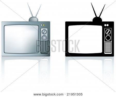 old style silver coloured portable television illustration