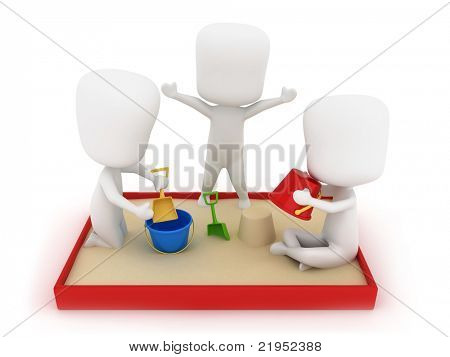 3D Illustration of Kids Playing in the Sandbox