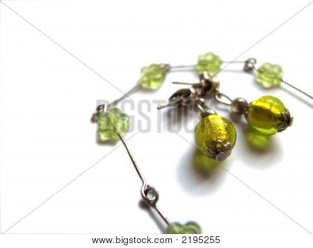 Accessories: Olive Green Earrings And Bracelet