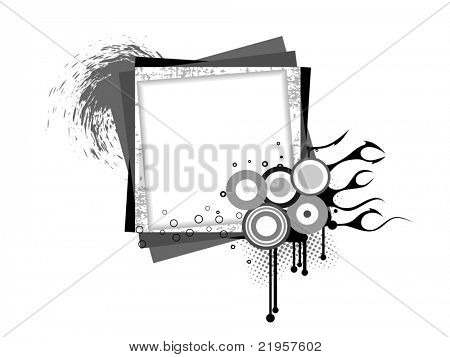 white background with abstract grungy frame, vector illustration