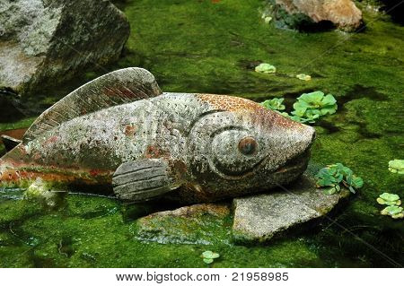 fish stone sculpture in pool