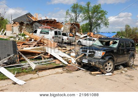 SAINT LOUIS, MO - APRIL 22: Destroyed homes left behind by tornadoes that ravaged the area. April 22, 2011 in Saint Louis, Missouri