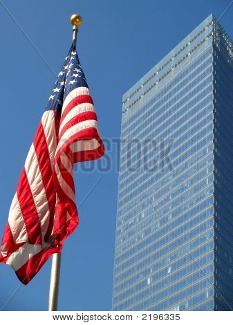 Flag And  Skyscraper