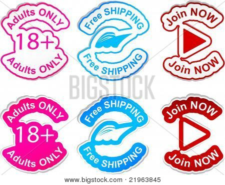 """Adults only"", ""free shipping"", ""join now""  vector stickers."