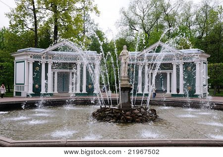 The Adam And Eve Fountains In Petergof Park