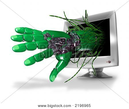 Robot Hand And Computer Screen