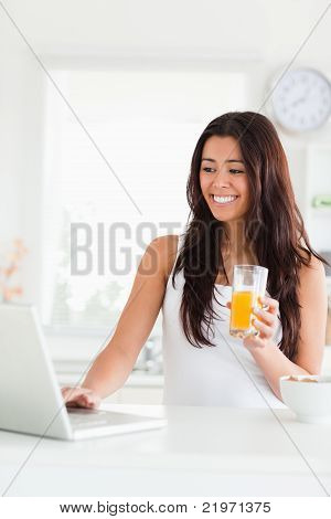 Gorgeous Woman Relaxing With Her Laptop While Holding A Glass Of Orange Juice