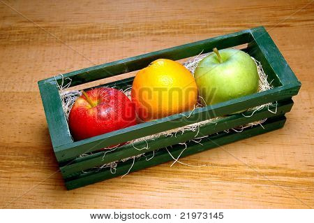 Apples and Orange in Crate
