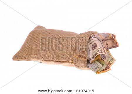 Burlap Bag stuffed with United States Currency