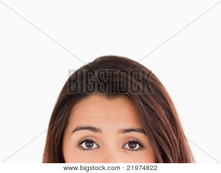 Woman Eyes Looking At The Camera While Standing