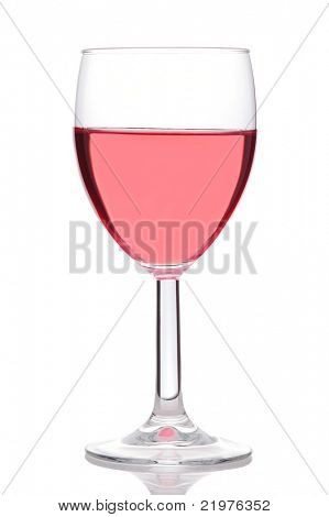 Glass of Blush or Rose Wine isolated over white with reflection