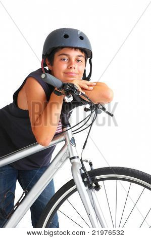Teenage Boy Leaning on Bicycle on White Background