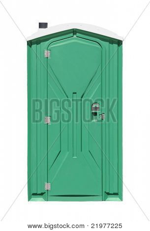 Outhouse or portable toilet isolated on white