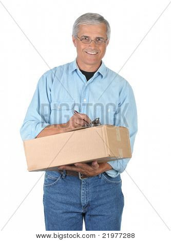 Smiling Middle Aged Deliveryman with Parcel and Clipboard isolated on white