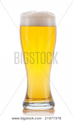 Glass of Beer with Reflection isolated on white