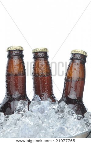 Three Brown Beer Bottles in Ice with Condensation isolated on white