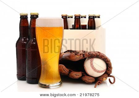 Six pack of beer and frothy glass with a baseball glove and ball in front. Horizontal format isolated on white with reflection.